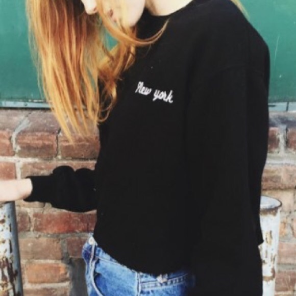 Brandy Melville Sweaters Nwot New York Black Crewneck Poshmark